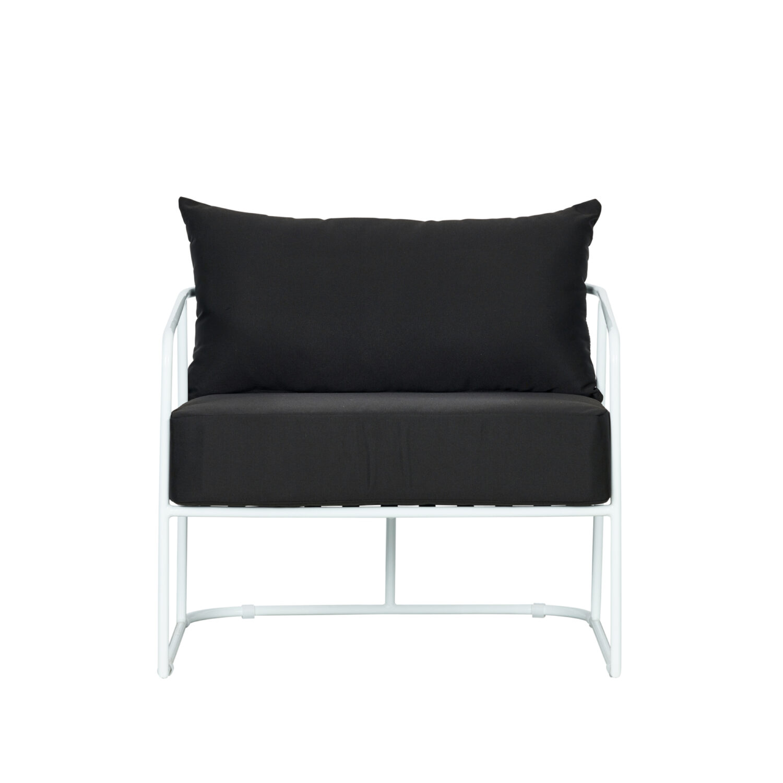 Portofino Armchair - White Frame / Black Cushion - Event Artillery