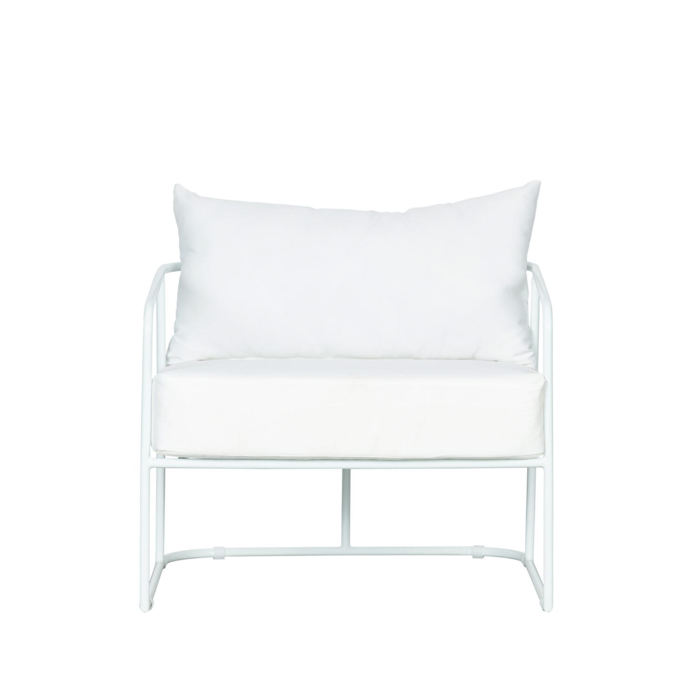 Portofino Armchair - White Frame / White Cushion - Event Artillery