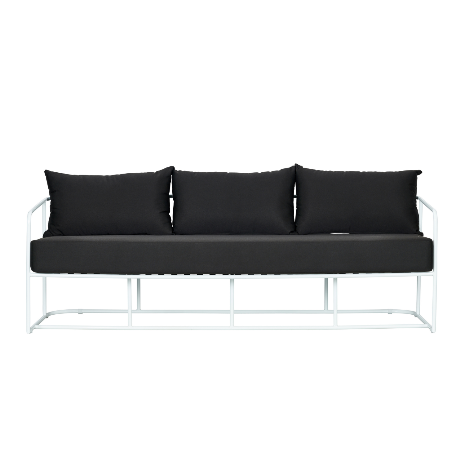 Portofino Three Seater Sofa - White Frame / Black Cushion - Event Artillery