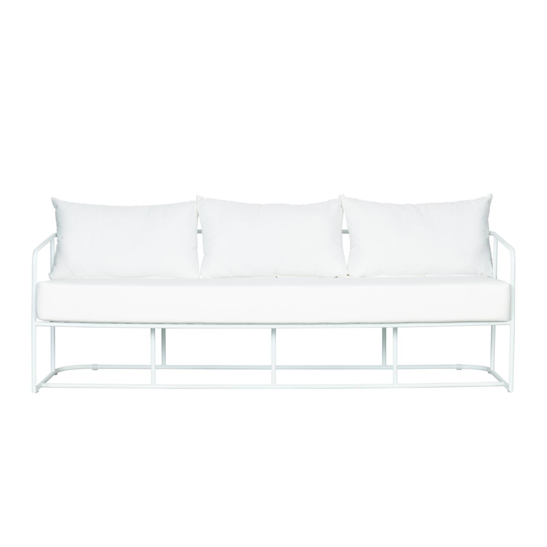 Portofino Three Seater Sofa - White Frame / White Cushion - Event Artillery