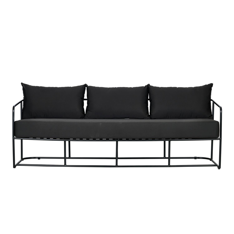 Portofino Three Seater Sofa - Black Frame / Black Cushion - Event Artillery