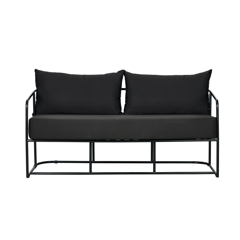 Portofino Two Seater Sofa - Black Frame / Black Cushion - Event Artillery