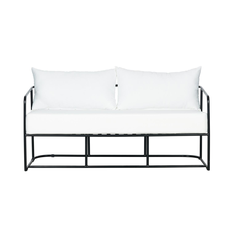 Portofino Two Seater Sofa - Black Frame / White Cushion - Event Artillery