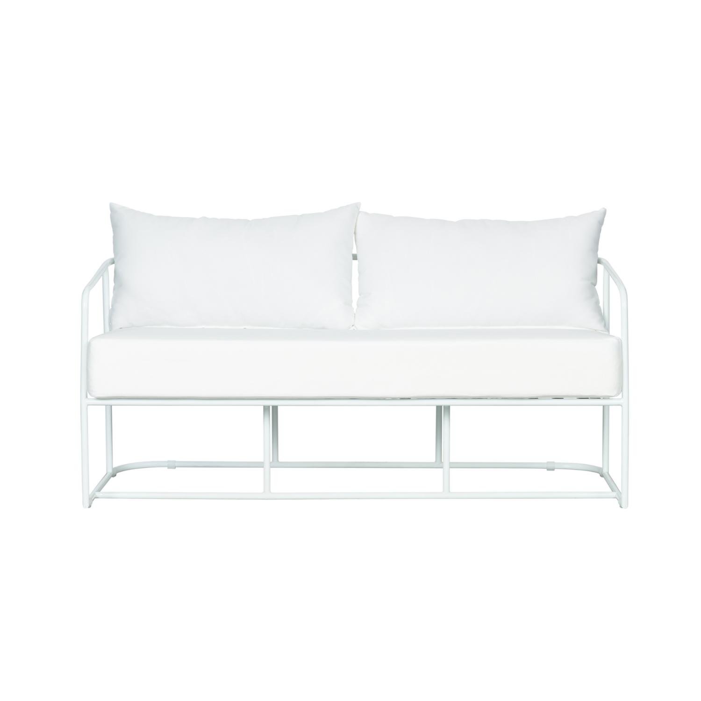 Portofino Two Seater Sofa - White Frame / White Cushion - Event Artillery