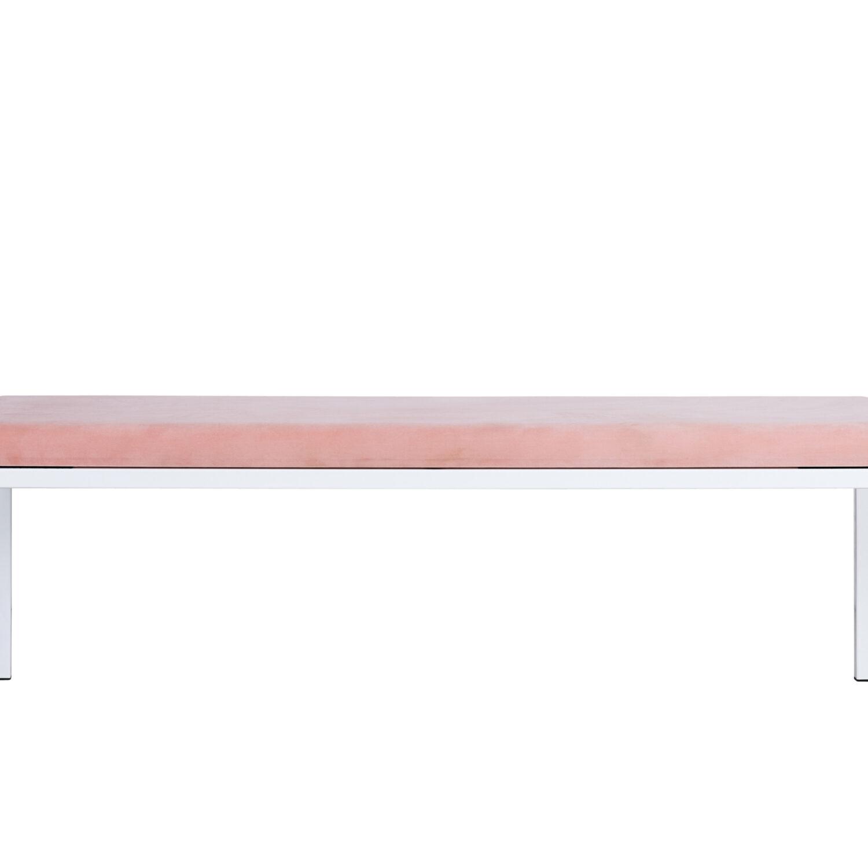 Bench Seat - White Frame, Blush Cushion - Event Artillery