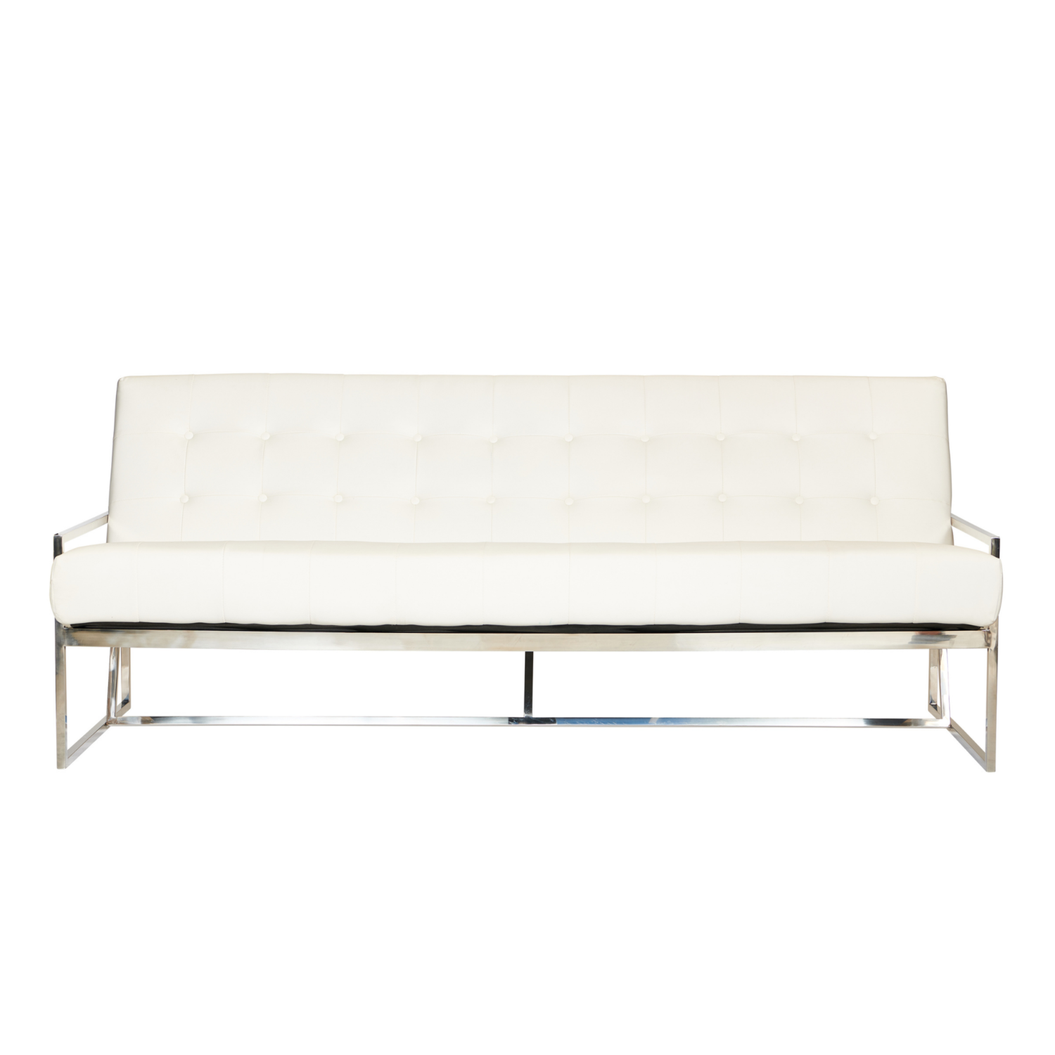 Starlet Three Seater Sofa - White / Silver Frame - Event Artillery
