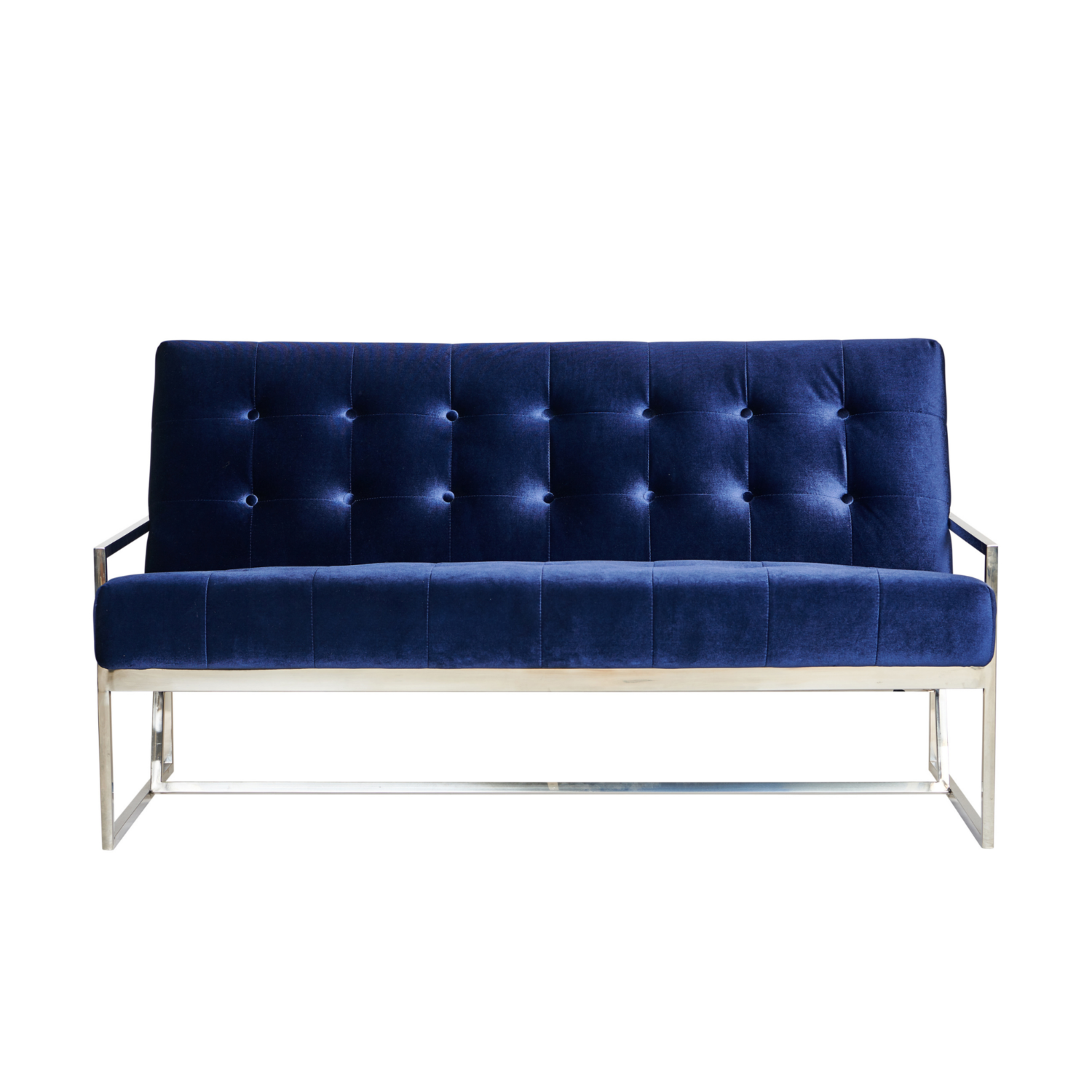 Starlet Two Seater Sofa - Navy / Silver Frame - Event Artillery