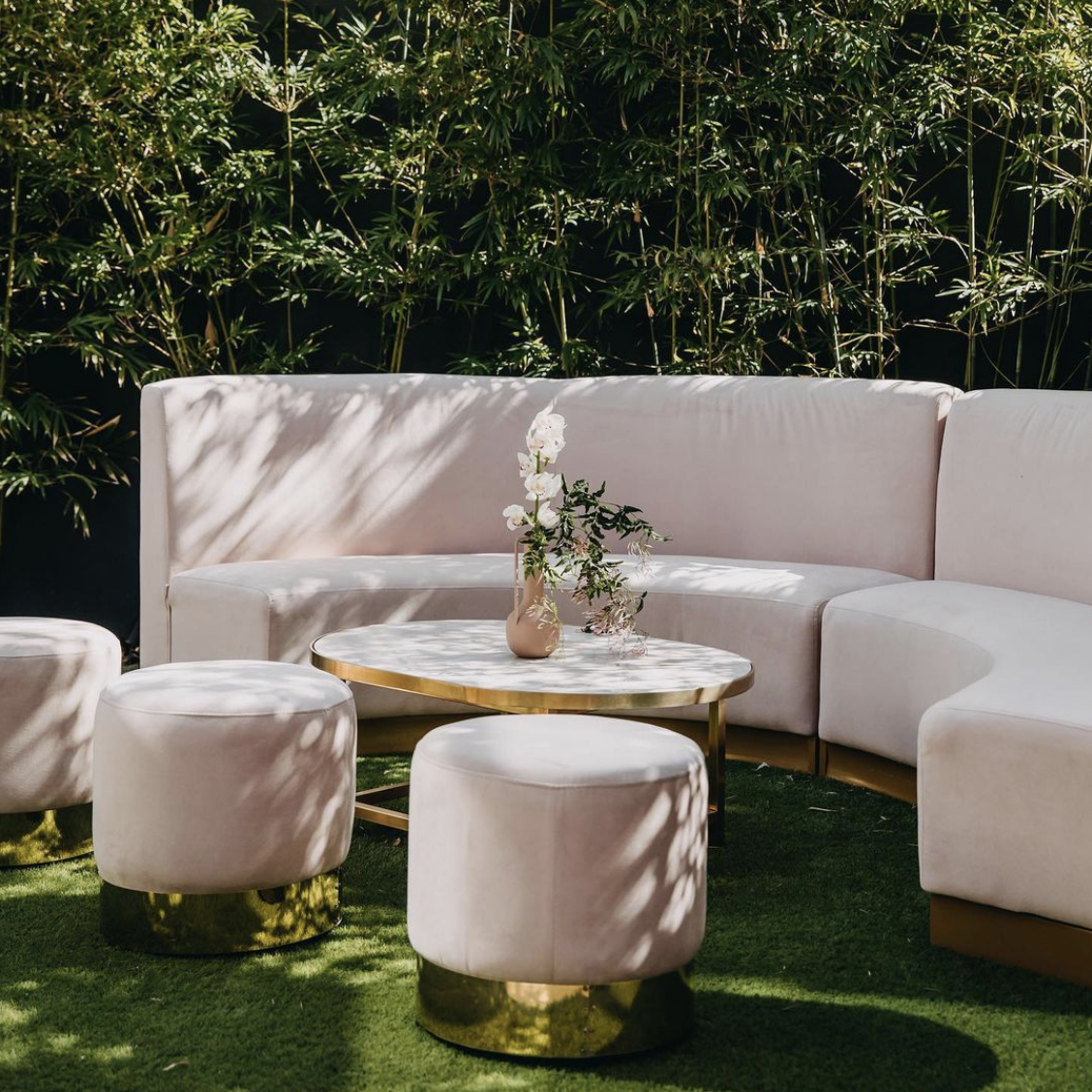 Velvet Banquette Seating - Blush - Event Artillery