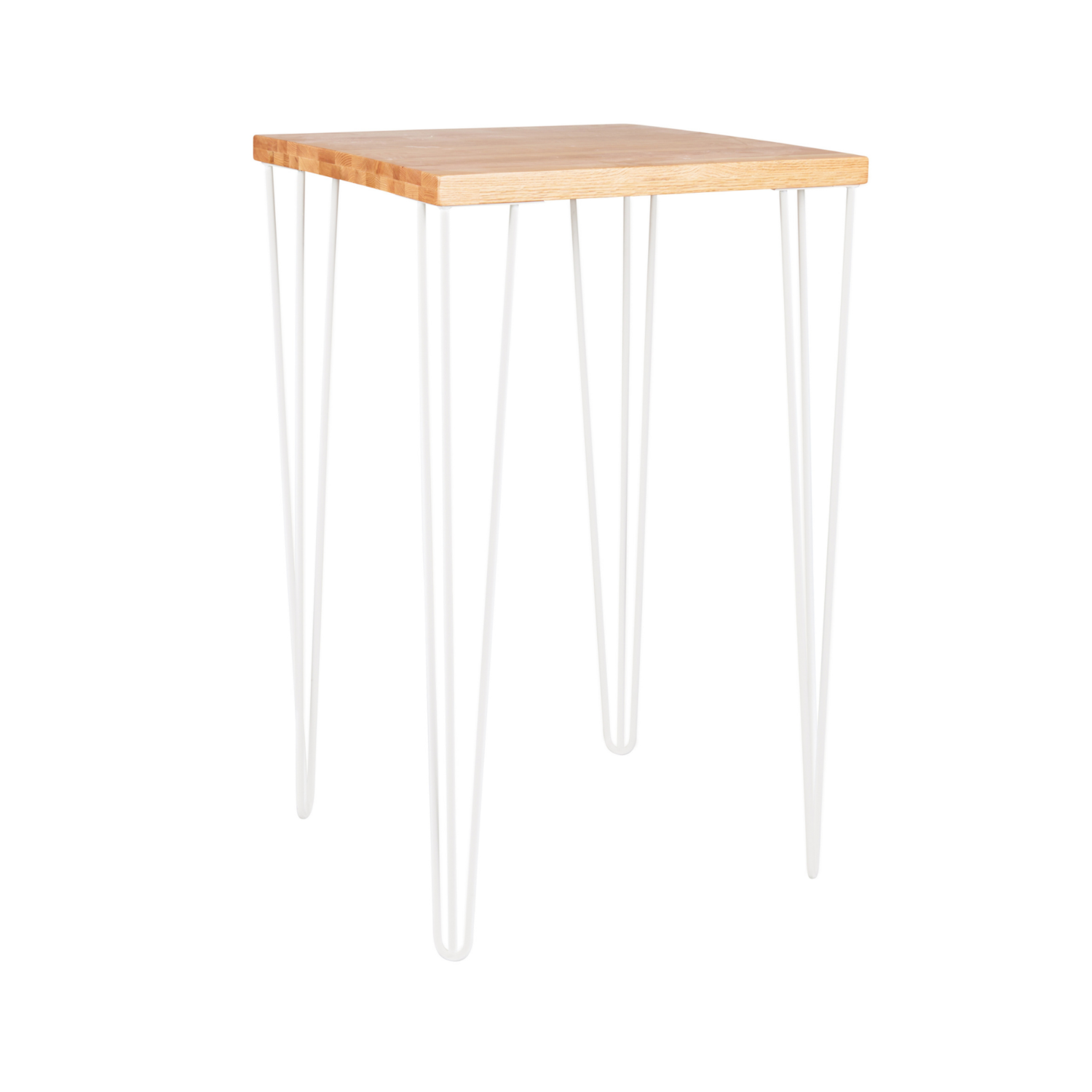 Hairpin Square Bar Table - Timber Top / White Legs - Event Artillery