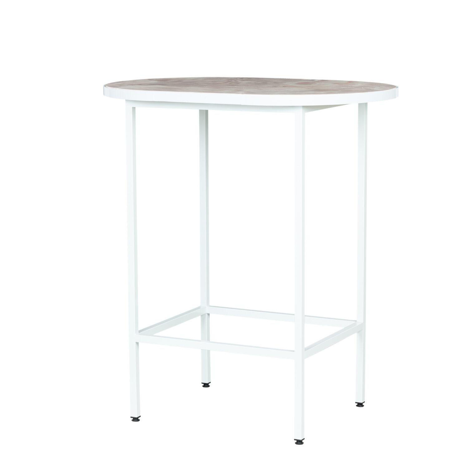 Pill Bar Table - White Frame / Marble Top - Event Artillery