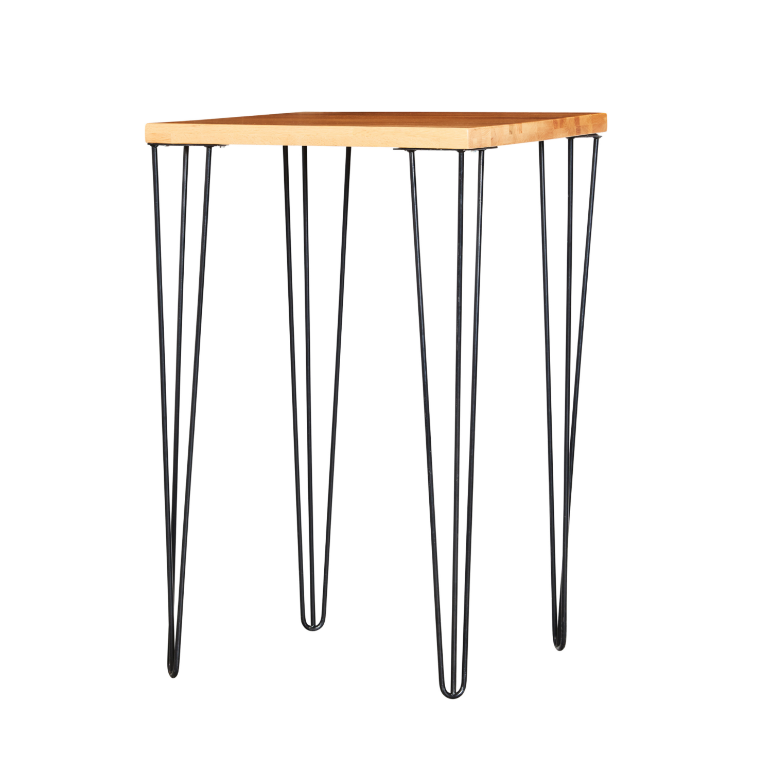 Hairpin Square Bar Table - Timber Top / Black Legs - Event Artillery