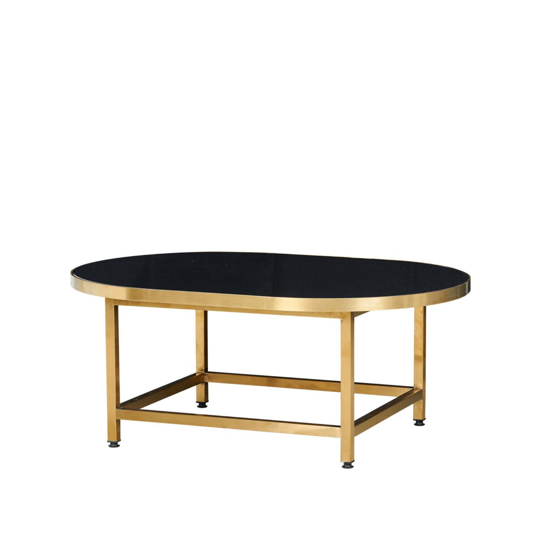 Pill Coffee Table - Brass Frame / Black Top - Event Artillery