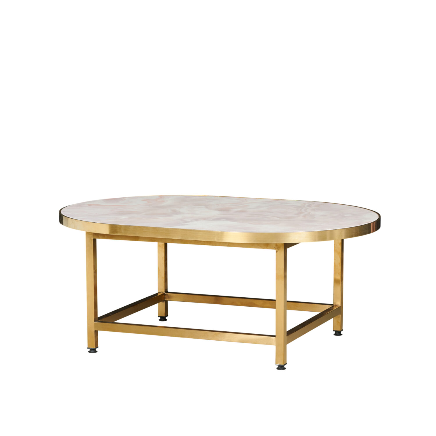 Pill Coffee Table - Brass Frame / Marble Top - Event Artillery