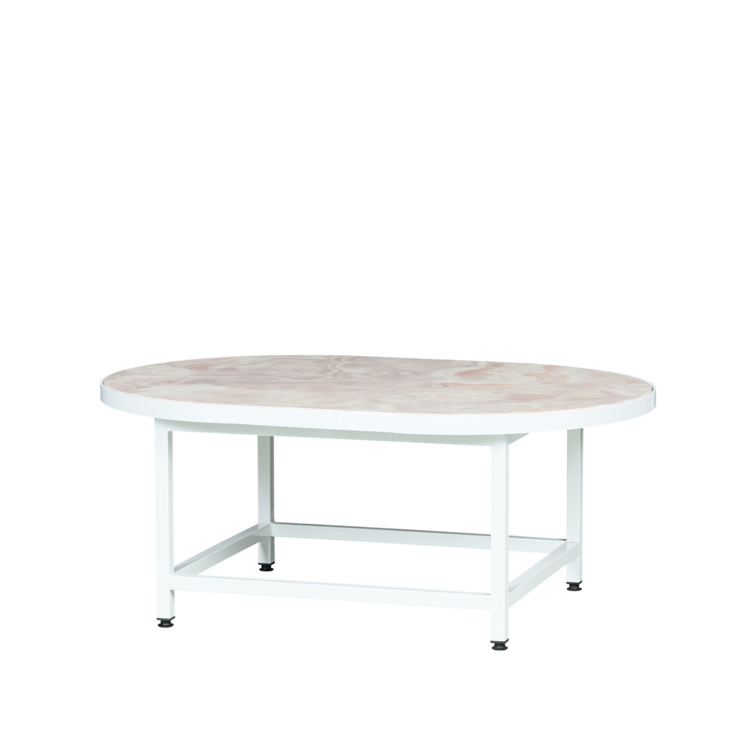 Pill Coffee Table - White Frame / Marble Top - Event Artillery