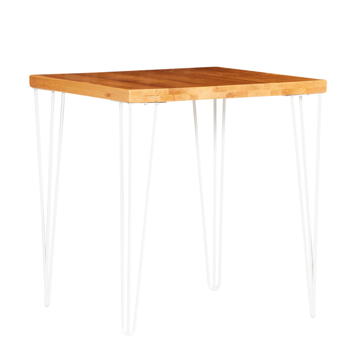 Hairpin Square Café Table - Timber Top / White Legs - Event Artillery