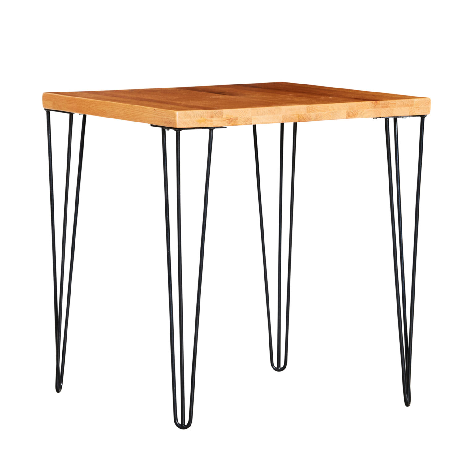 Hairpin Square Café Table - Timber Top / Black Legs - Event Artillery