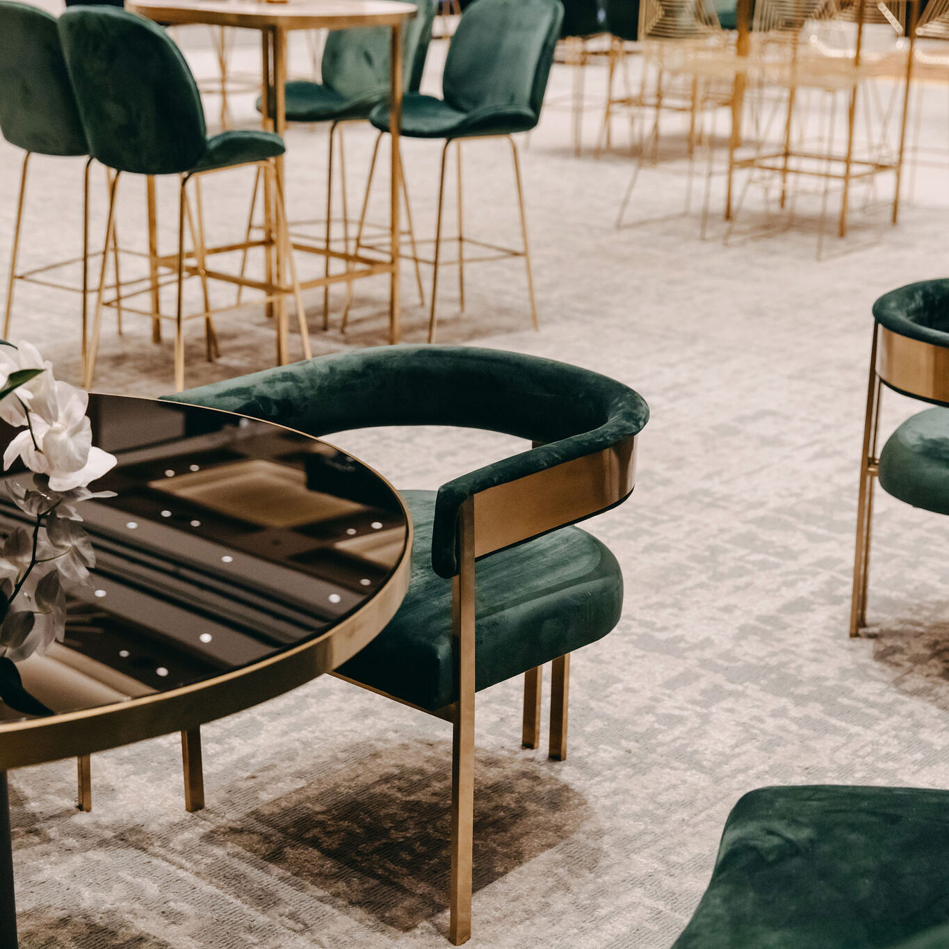 Cafe Table - Black with Brass Trim - Event Artillery