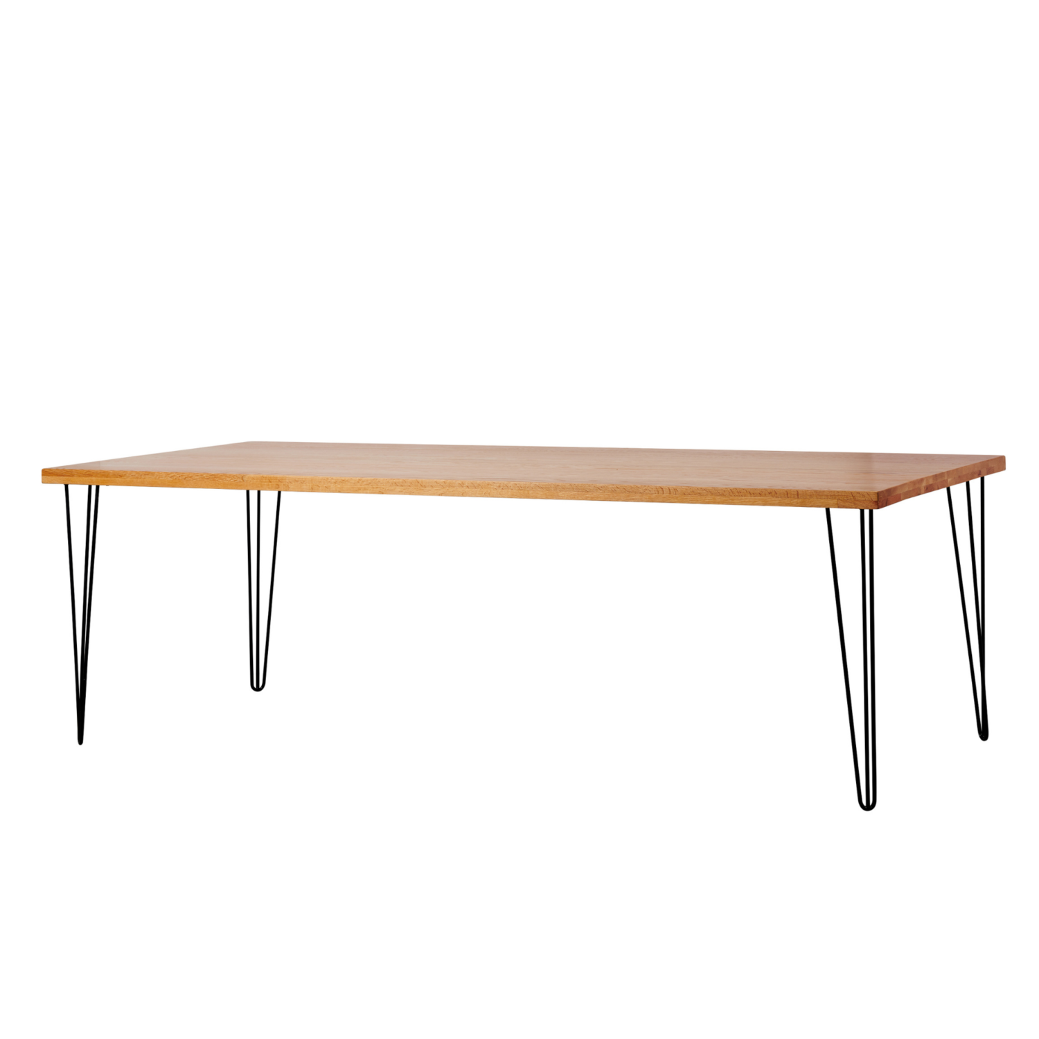 Hairpin Dining Table - Timber Top / Black Legs - Event Artillery