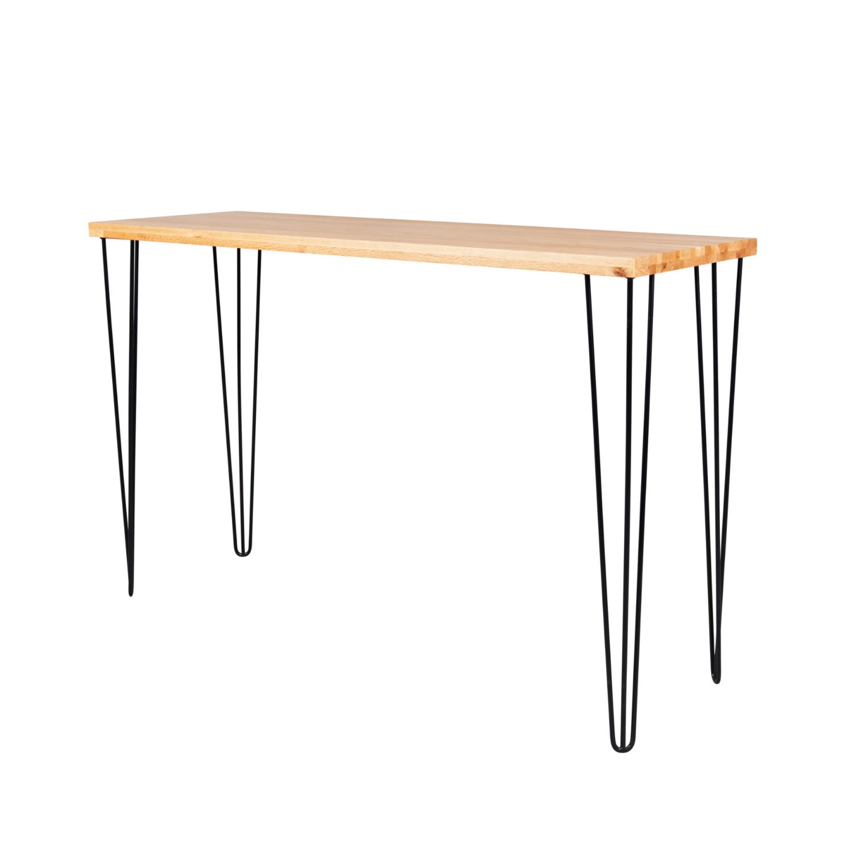 Hairpin Long Bar Table - Timber Top / Black Legs - Event Artillery