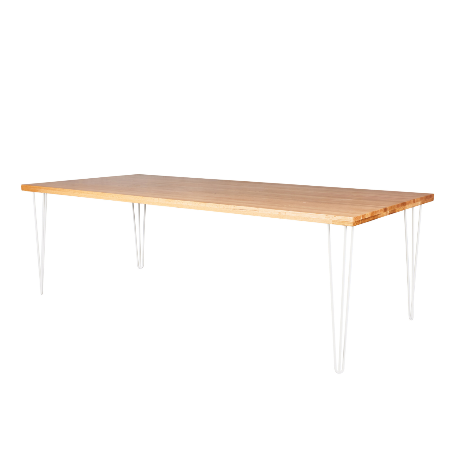 Hairpin Dining Table - Timber Top / White Legs - Event Artillery