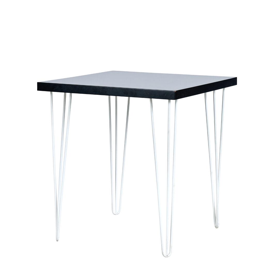 Hairpin Square Café Table - Black Top / White Legs - Event Artillery