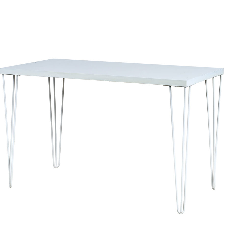 Hairpin Signing Table: 1.5m x 0.75m - White Top / White Legs - Event Artillery
