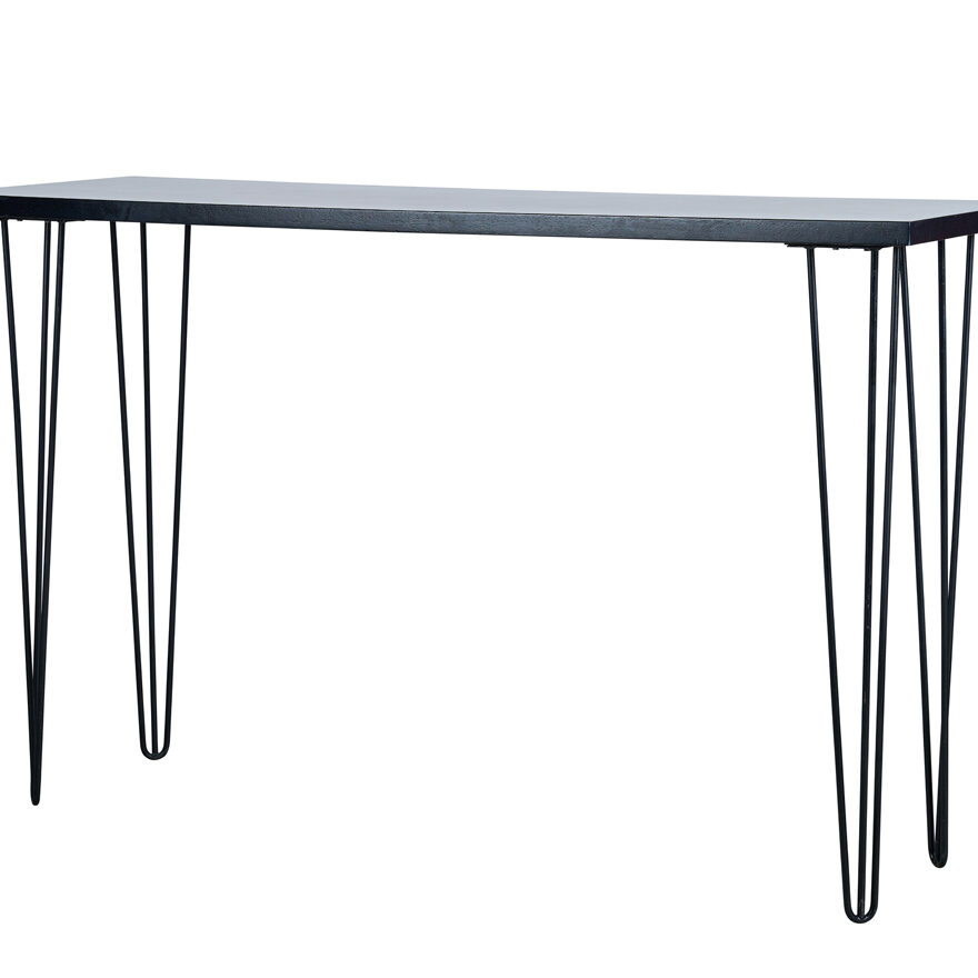 Hairpin Long Bar Table - Black Top / Black Legs - Event Artillery