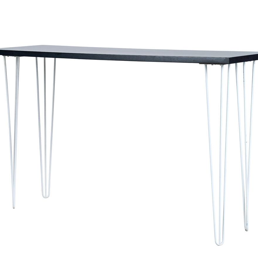 Hairpin Long Bar Table - Black Top / White Legs - Event Artillery