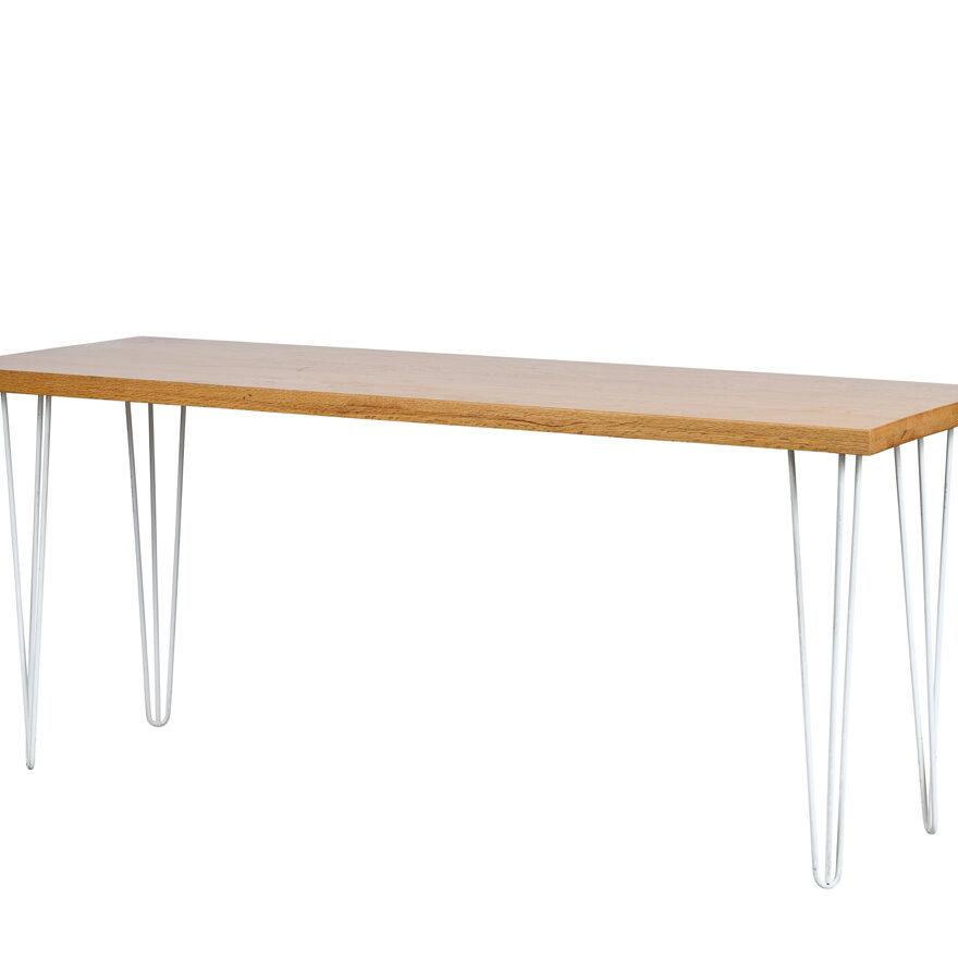 Hairpin Tapas Cafè Table - Timber Top / White Legs - Event Artillery